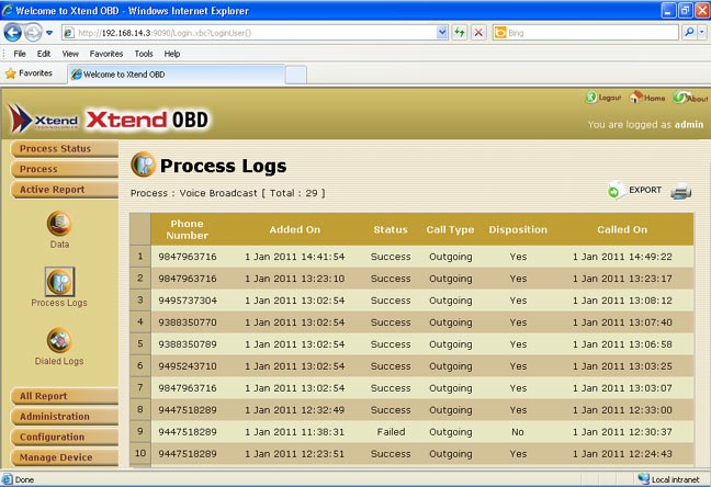 Click to enlarge : Process Logs